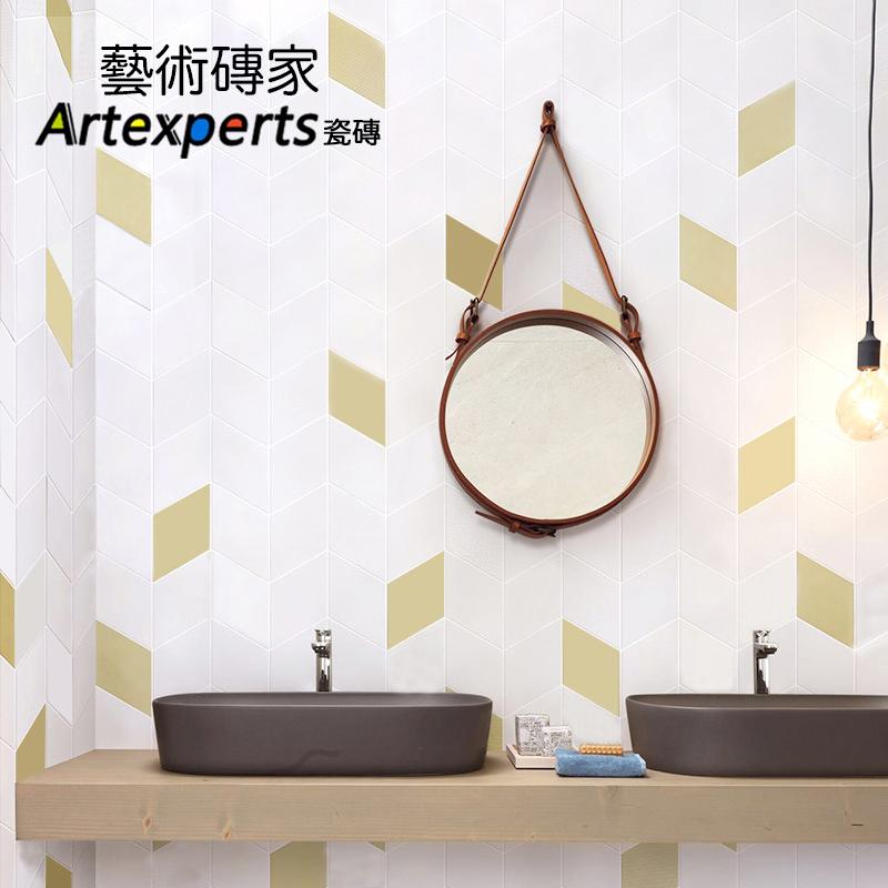 北欧简约黑白菱形瓷砖几何马赛克全瓷哑光厨房卫生间墙砖防滑地砖