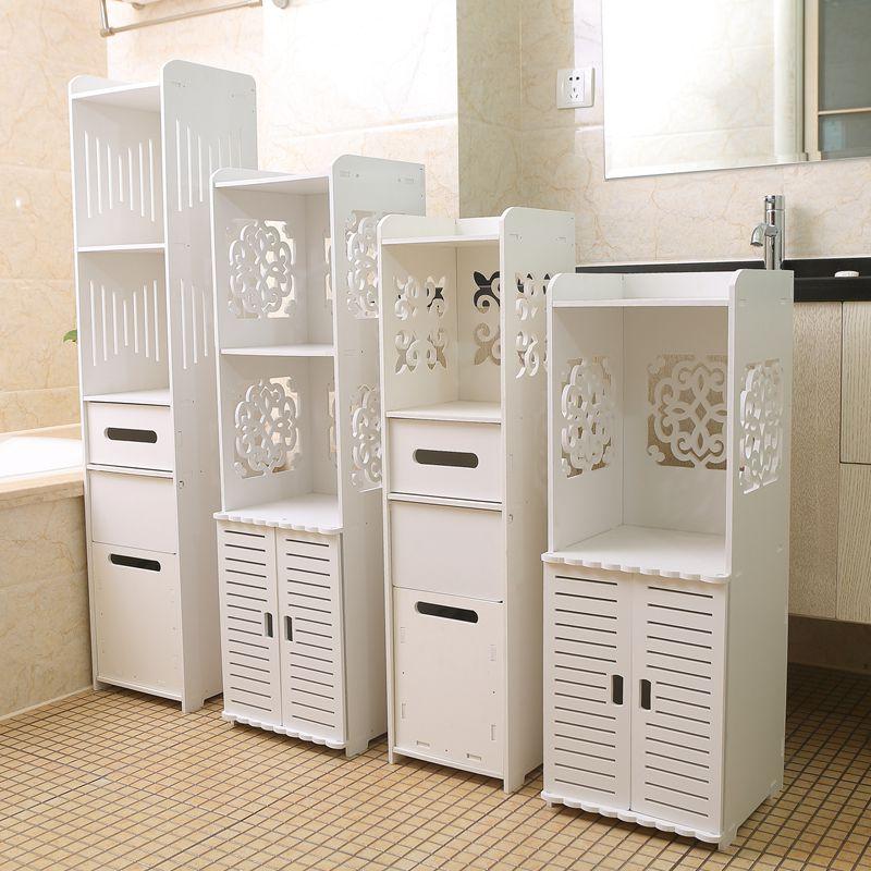 洗手臺置物架衛生間防水白色收納柜馬桶落地邊柜廁所儲物柜浴室柜