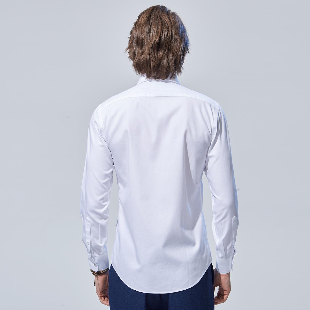 恺米切青年男士长袖衬衫  秋冬休闲白色纯棉百搭衬衣