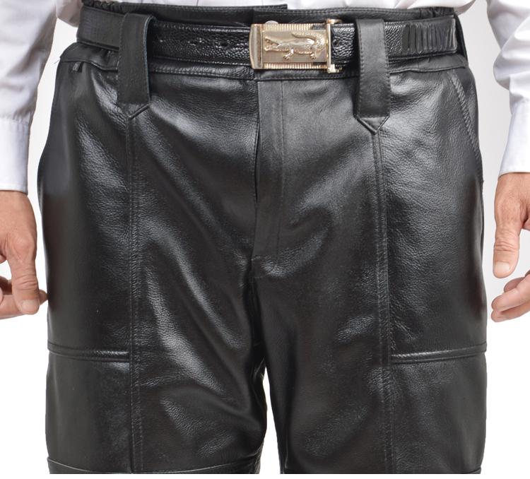 真皮皮裤男士秋冬骑行薄款中老年防寒宽松头层牛皮摩托车机车皮裤