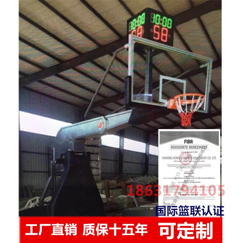 手动液压升降室内室外专业比赛篮球馆 电动液压篮球架
