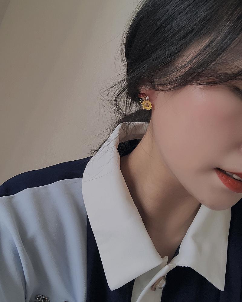 银针森女小清新植物花朵耳钉个姓百搭雏菊韩版甜美耳饰耳环女 S925