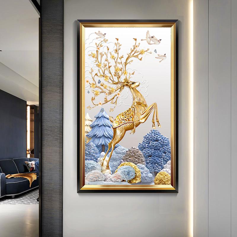 入户玄关装饰画过道走廊竖版壁画现代简约客厅美式轻奢挂画欧式鹿