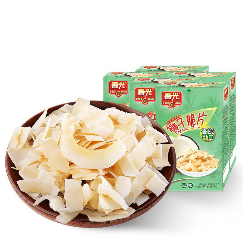春光海南特产椰子脆片60g*5烘烤椰子肉片干食品小吃休闲零食