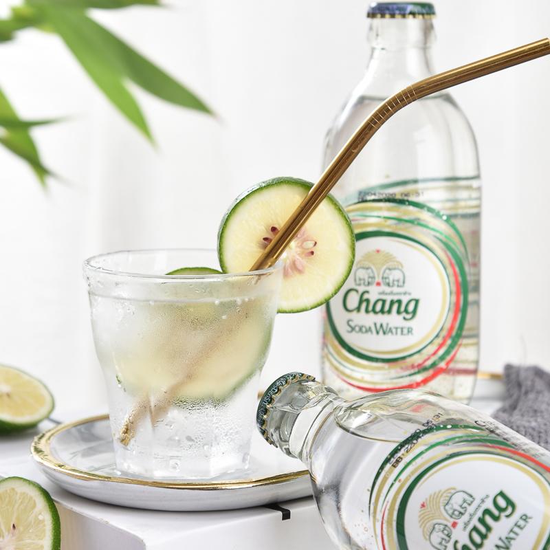 泰国原装进口,0糖0卡,玻璃瓶装:325mlx12瓶 泰象牌 气泡苏打水