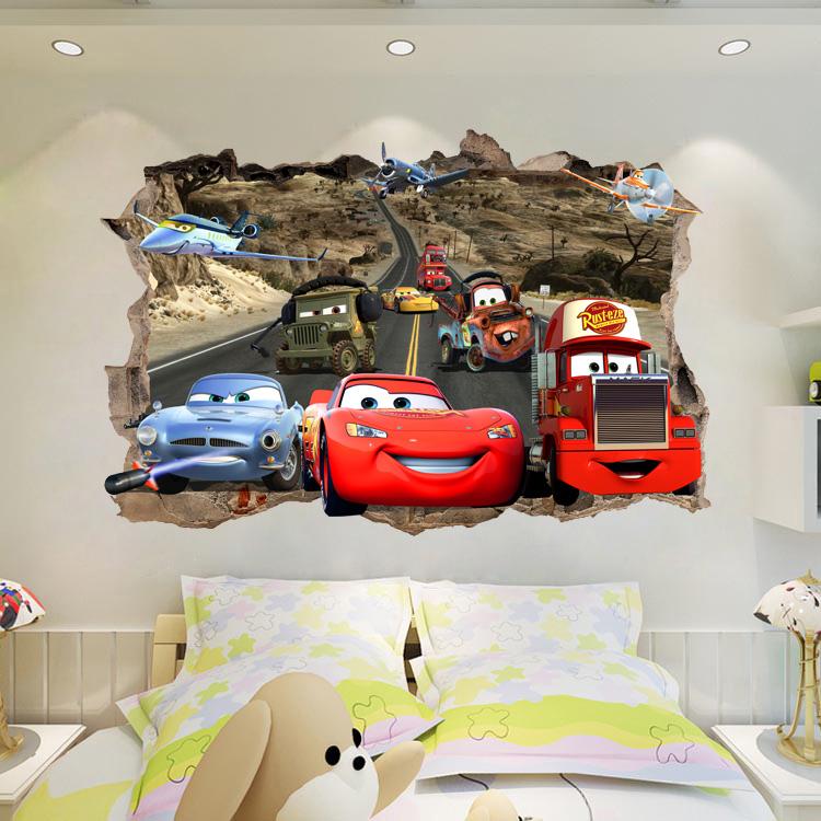 卡通賽車汽車總動員牆貼麥昆防水貼紙臥室可移除壁畫紙客廳兒童房