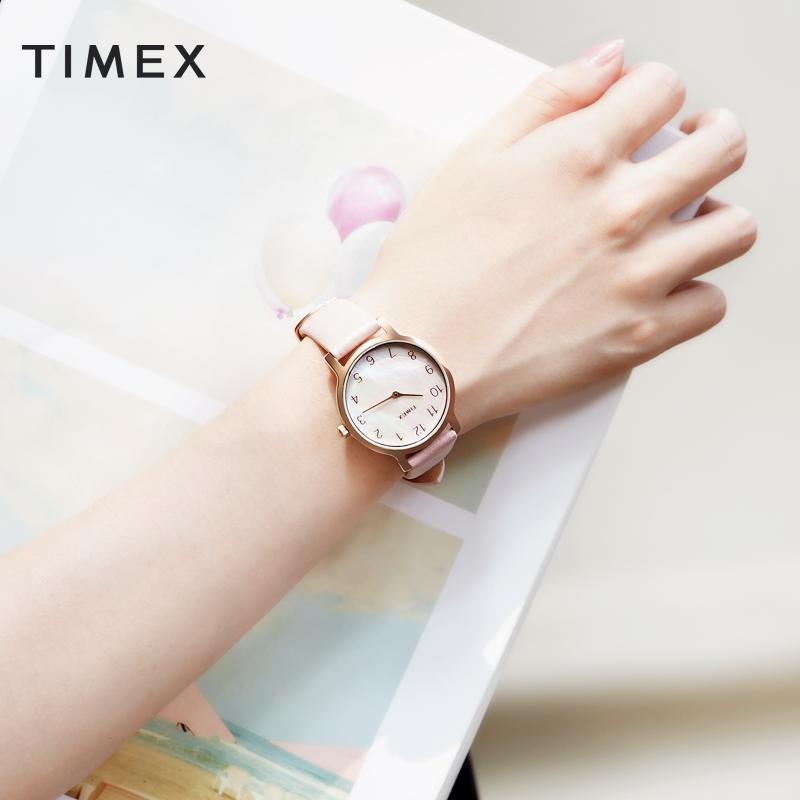 TIMEX/天美时贝母元素表盘森系时尚简约手表女皮带美国小众女表