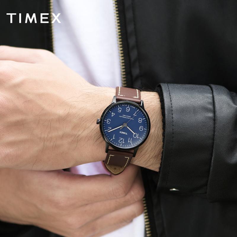 美国TIMEX天美时手表男简约防水夜光皮带冷淡风男表TW2R25700