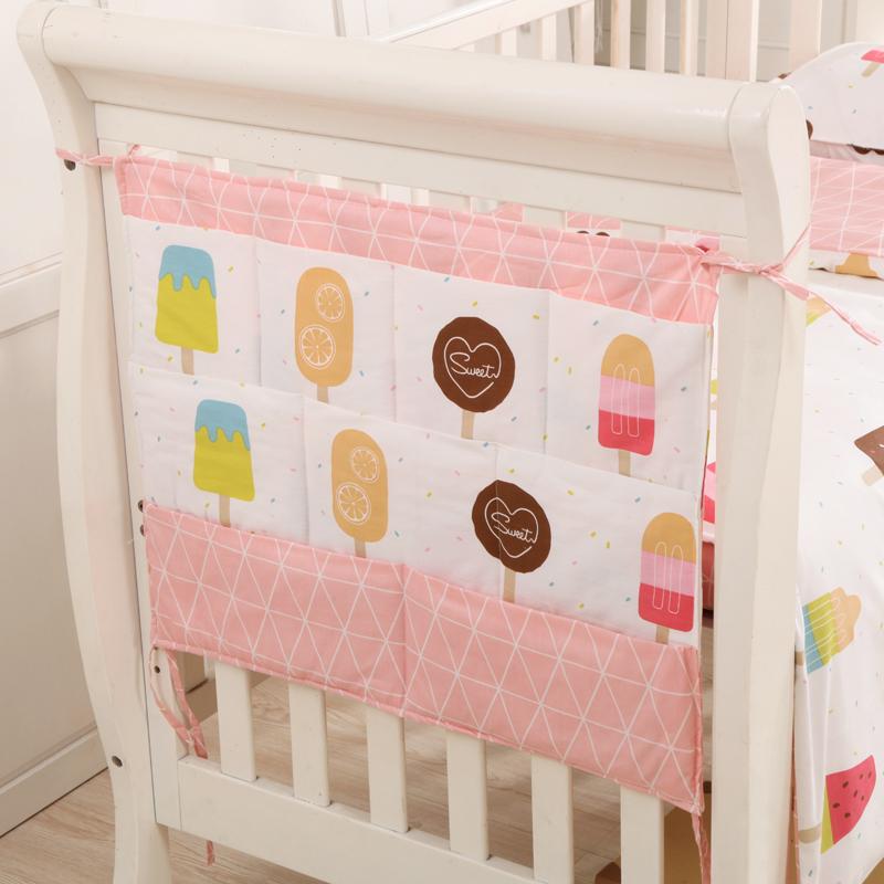 婴儿床头挂袋 收纳袋宝宝尿布袋床边储物袋新生儿全棉挂袋整理袋