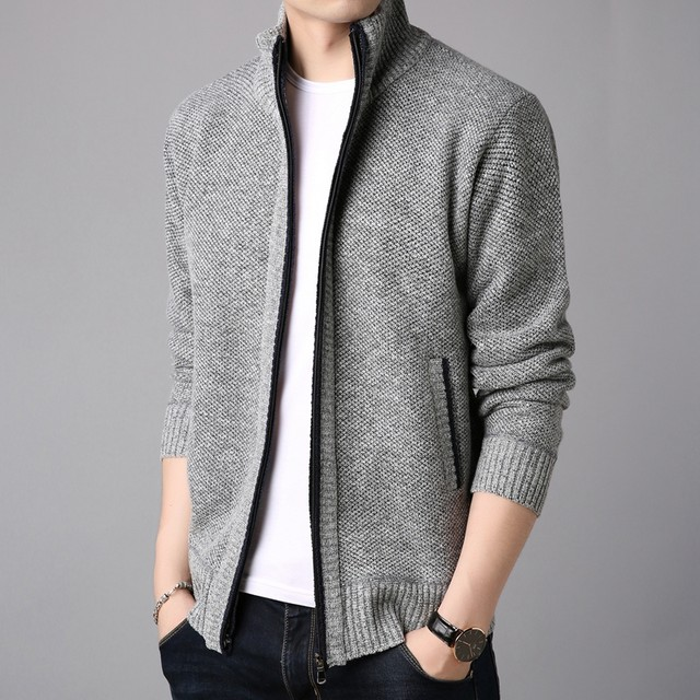 2020 new men's spring and autumn clothes men's men's stand-up collar knitted cardigan sweater jacket