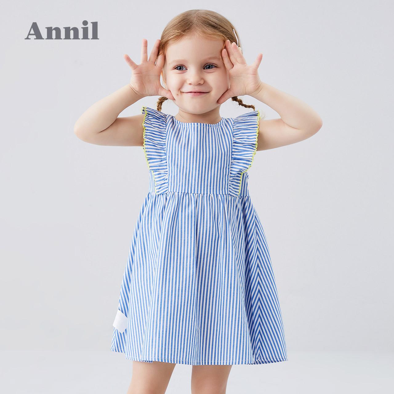 安奈儿童装小女童纯棉无袖连衣裙2020夏装新款薄款荷叶边背心裙子主图