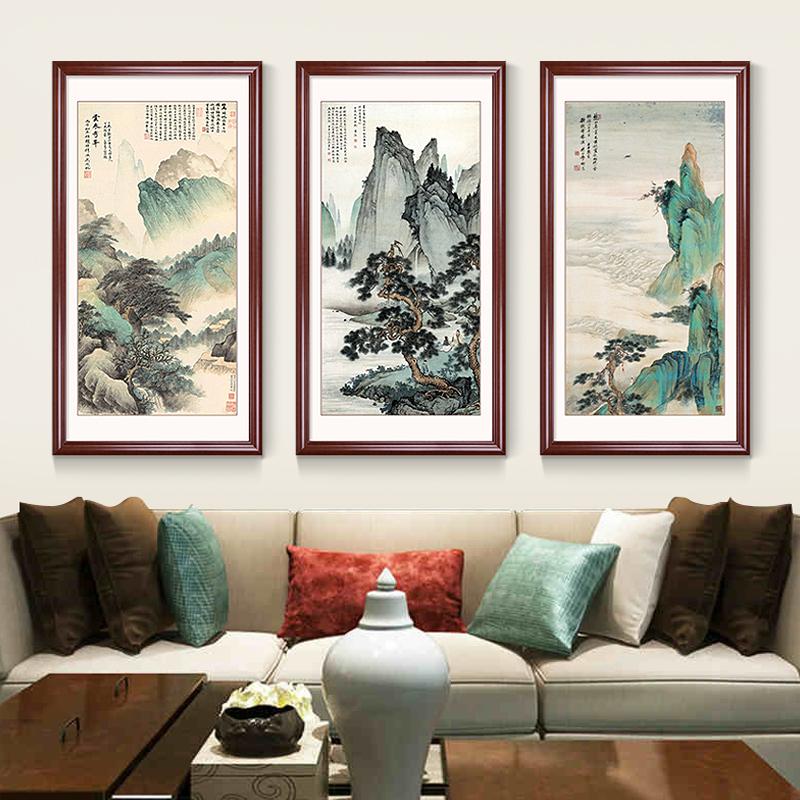 国画山水画玄关装饰画竖版中式走廊过道壁画风水靠山客厅餐厅挂画