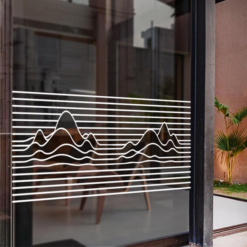 个性线条玻璃门贴纸办公室隔断防撞静电膜创意店铺腰线贴玻璃装饰 No.3