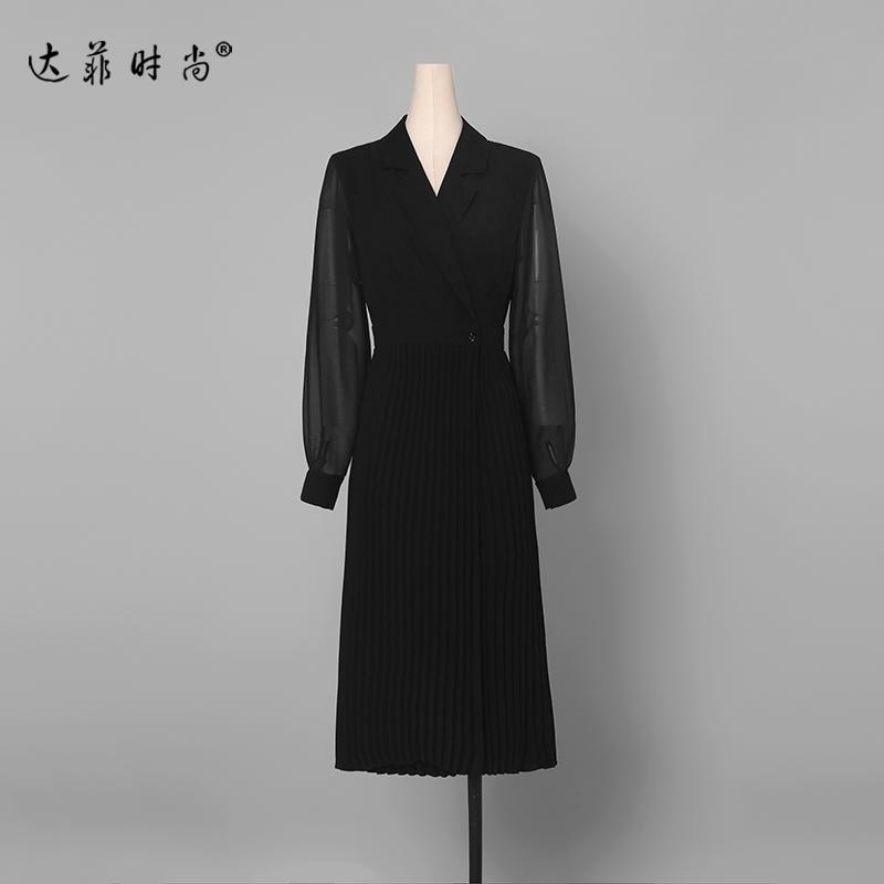春装2019新款女装黑色西装修身长裙裙子气质中长款风衣外套连衣裙