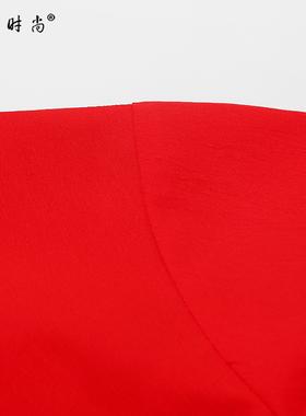 红色衬衫长裙气质修身收腰显瘦中长款连衣裙女装夏季2021新款