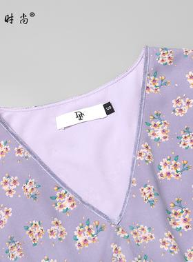 夏装2021新款女装气质性感修身雪纺收腰显瘦中长款碎花连衣裙