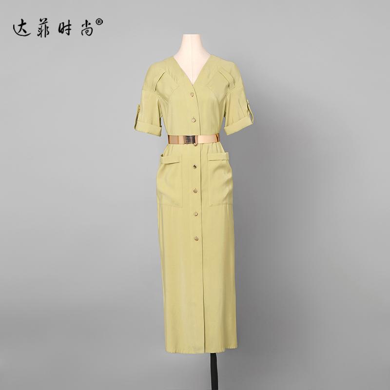 夏装2020新款女装衬衫包臀裙长裙气质修身OL显瘦中长款连衣裙【图2】