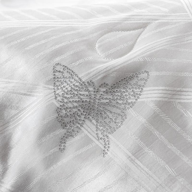 樂蝸家紡床上被子被芯子母被大提花二合一桑蠶絲被單雙人床 LOVO