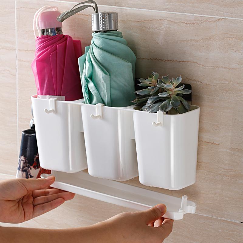 创意雨伞收纳桶家用防水置物架多功能可折叠雨伞收纳架门后挂墙架