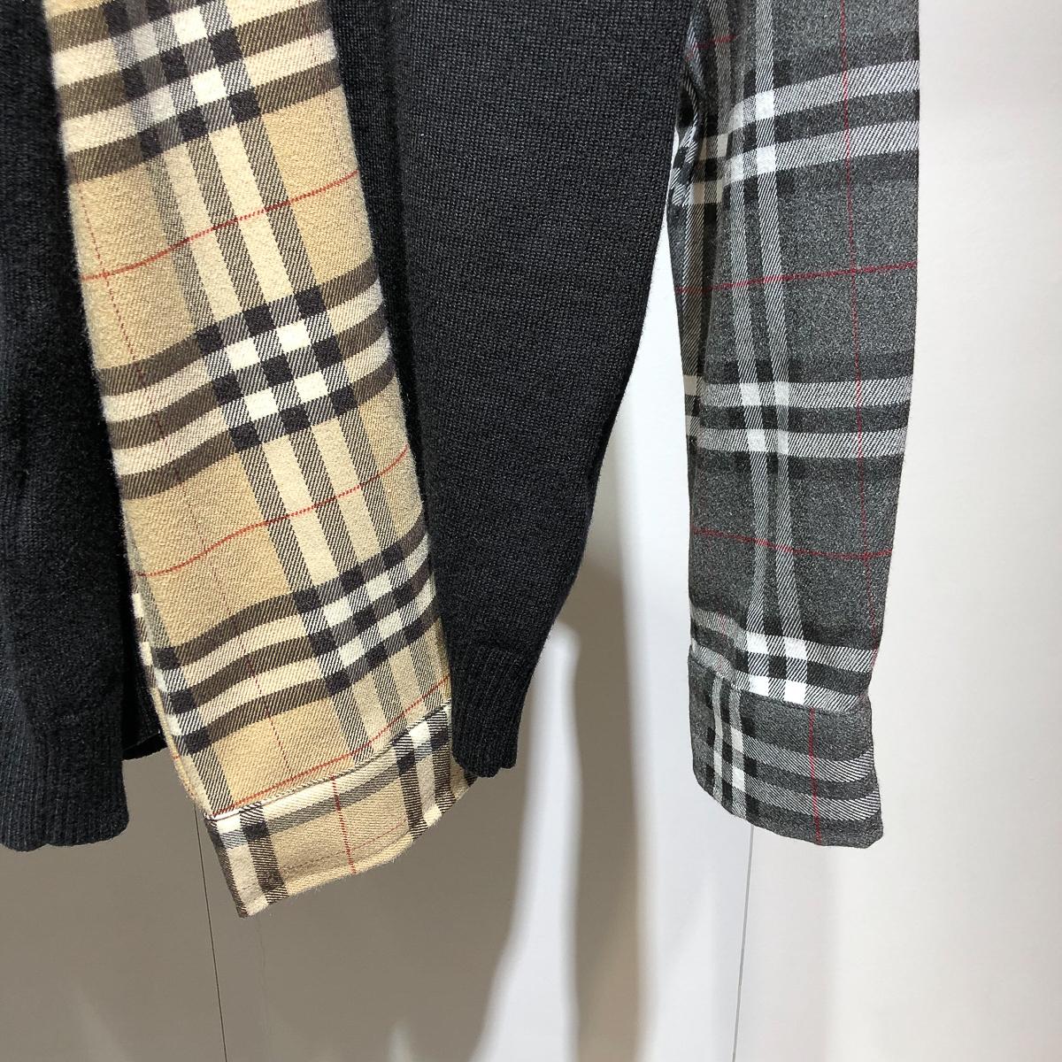 2021冬季新品衬衫拼接假两件毛衣男格子手袖针织polo衫翻