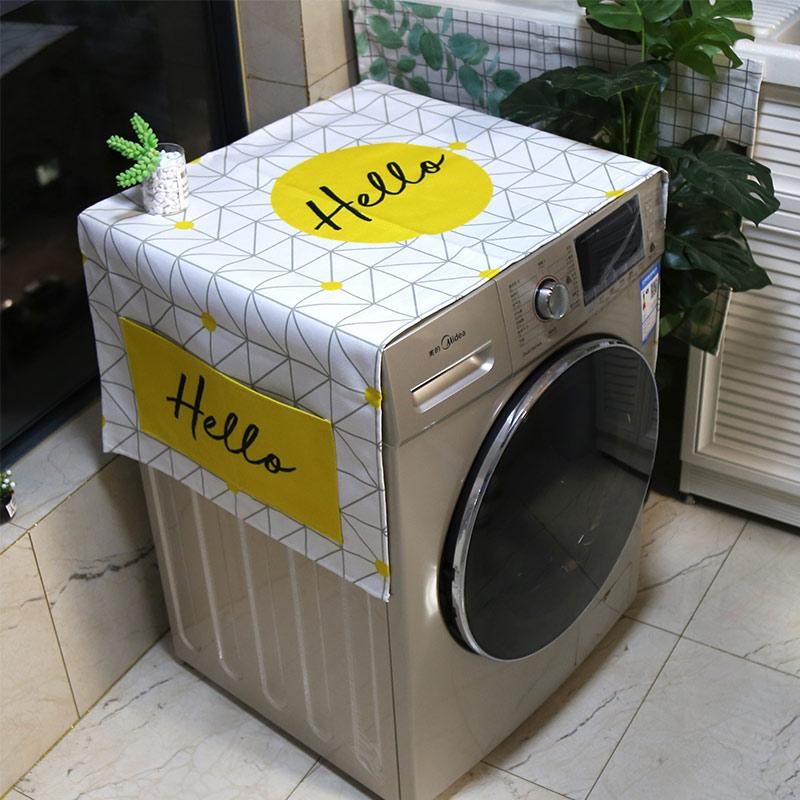 棉麻布藝防塵防水滾筒洗衣機罩床頭櫃蓋布冰箱微波爐加厚萬能蓋巾