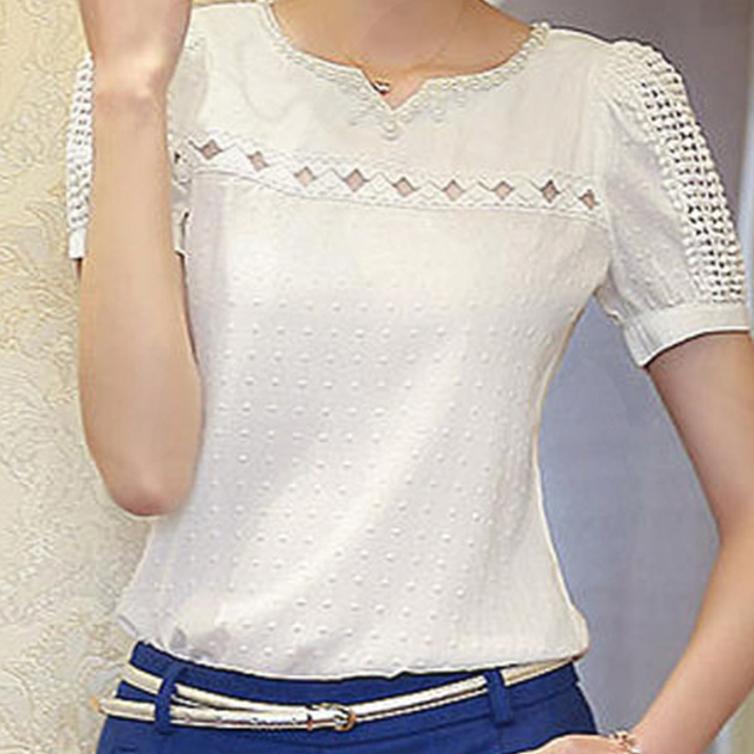 打底衫女短袖2017新款白色蕾丝雪纺衫韩版夏季V领t恤女装修身上衣