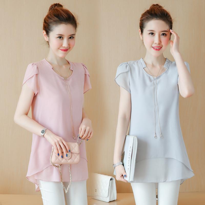 2017夏季女新款韩版短袖大码中长款显瘦雪纺衫百搭宽松衬衫上衣