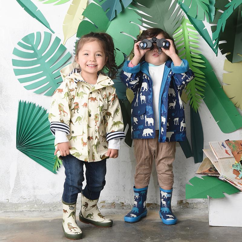 韩国has 可爱时尚儿童雨衣男女宝宝幼儿园小学生防风雨披冲锋衣厚
