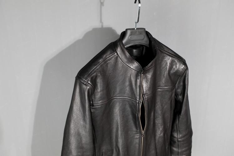 新品男装植揉头层绵羊皮成衣水洗做旧做皱皮夹克男真皮皮衣外套