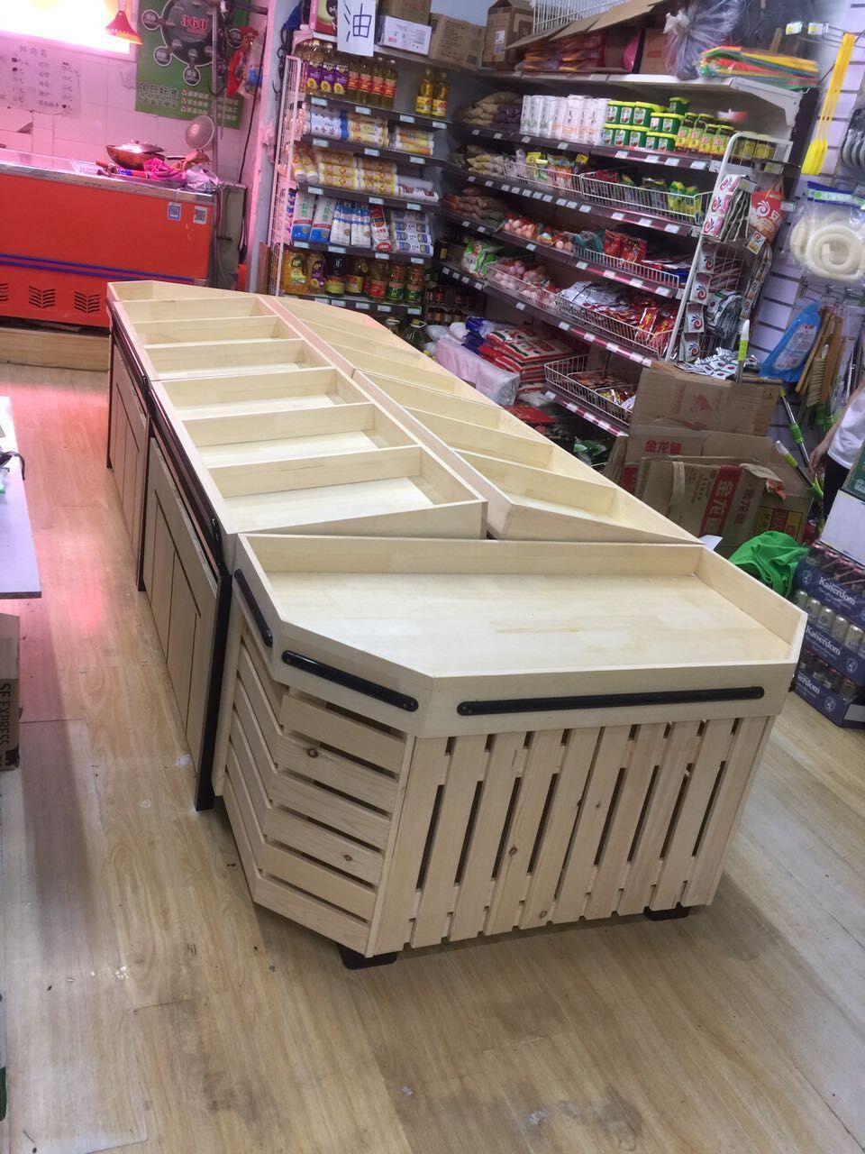 木质钢木水果架果蔬架超市货架蔬菜架水果中岛柜水果店展示货架