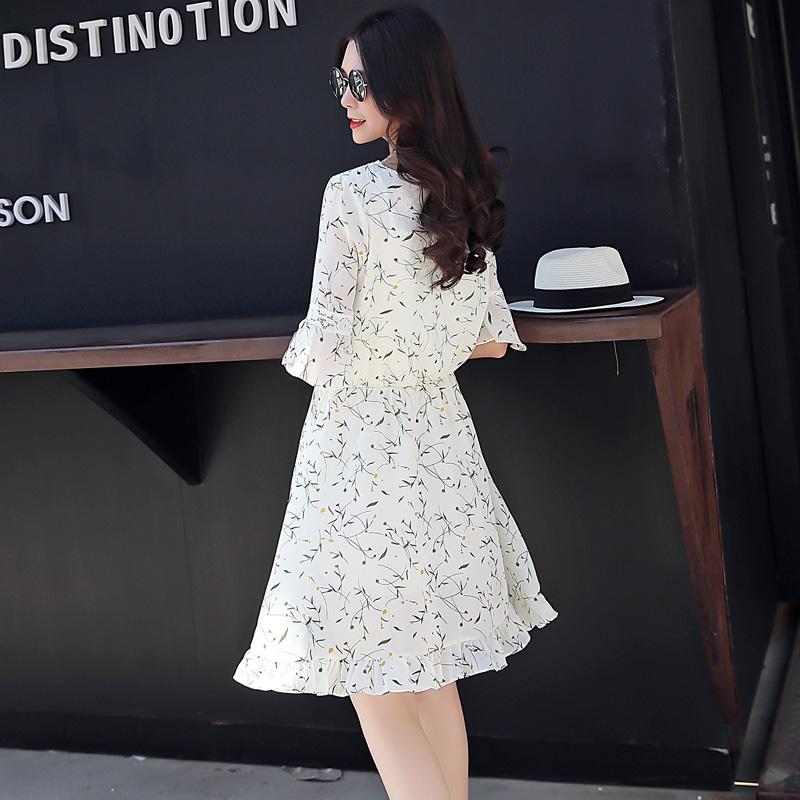 2017夏季新款松紧收腰修身显瘦碎花雪纺连衣裙女中长款a字裙