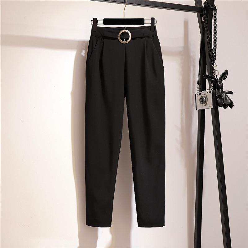 2021夏季薄款裤子女韩版工装宽松直筒休闲裤显瘦高腰九分裤西装裤