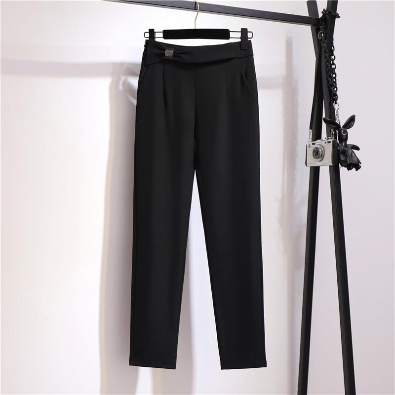 西装裤女秋装2021新款宽松显瘦高腰小脚萝卜裤子黑色职业工作西裤