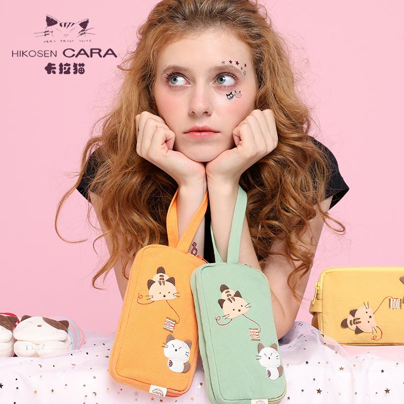 HIKOSEN CARA卡拉貓女手拿零錢包手腕手抓包女式雙層手機包袋小包