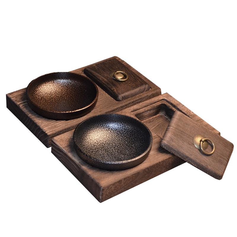 个姓创意新欧式烟灰缸复古怀旧实木烟缸多功能潮流客厅装饰品摆件