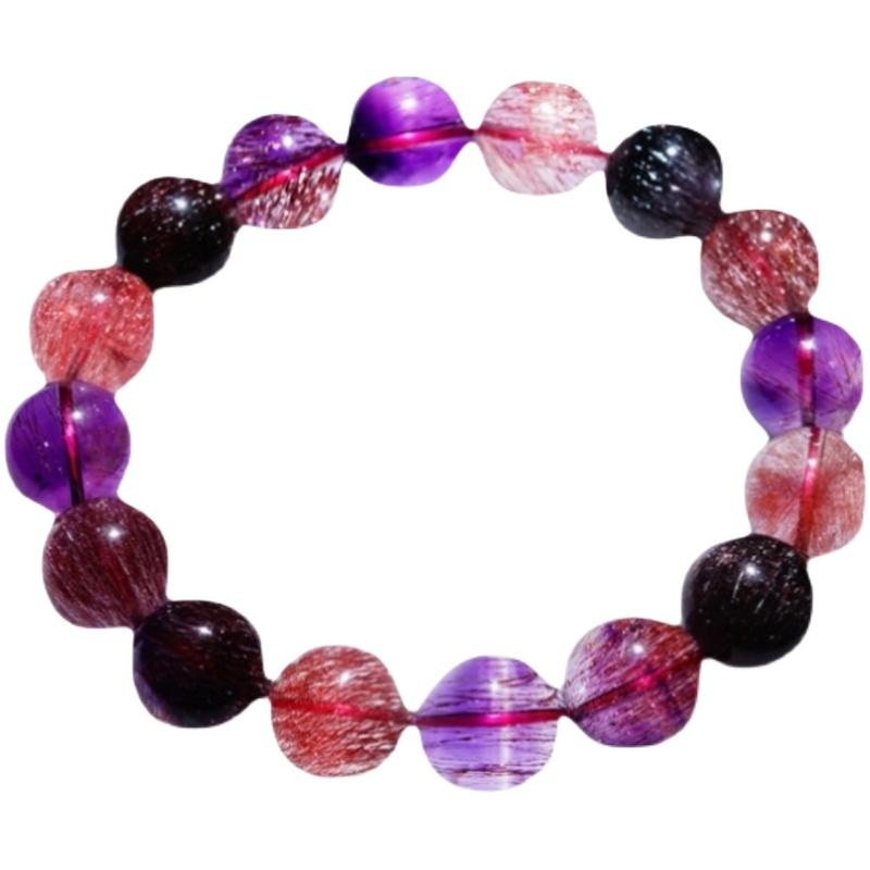 天然水晶黑加仑超七单圈手串多圈云母三轮骨干紫钛晶金草莓手链女