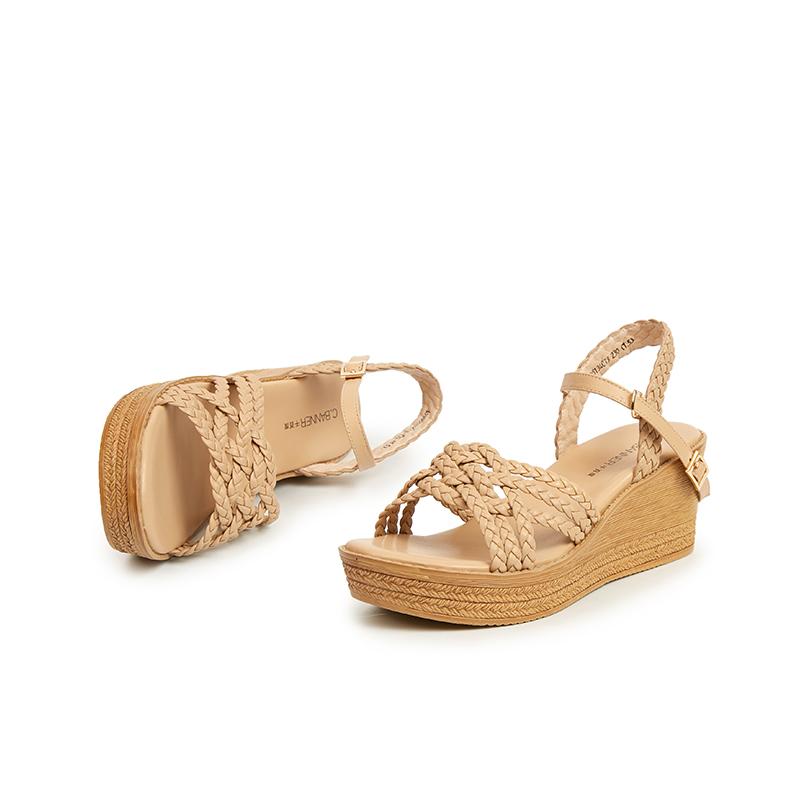 A9305134WX 夏季新品波西米亚坡跟女鞋透气编织凉鞋 2019 千百度女鞋