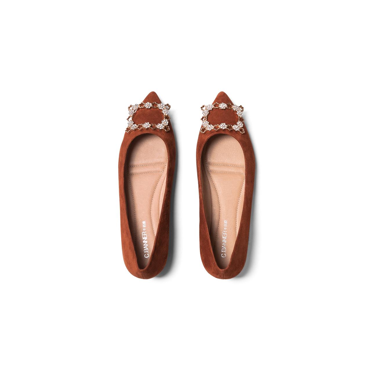 新款鞋子方钻舒适气质休闲单鞋 2020 千百度女鞋小香风尖头平底鞋