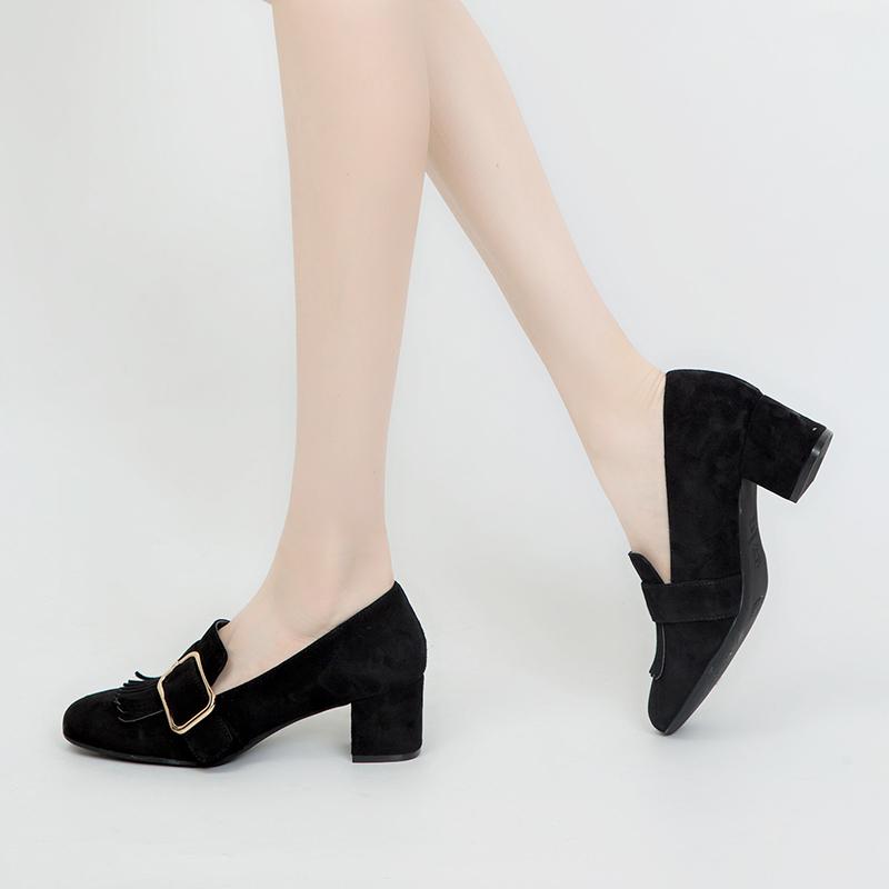 A7473203 千百度春秋新品商场同款绒面高跟方跟女鞋单鞋 C.BANNER