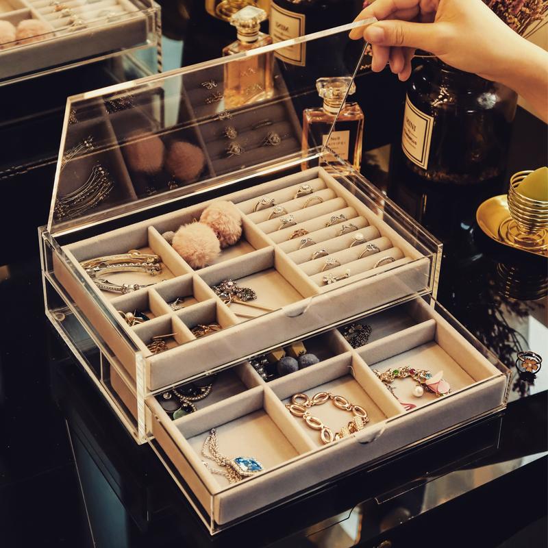 首飾收納盒簡約亞克力耳環耳釘盒子收納盒展示架收拾手飾品收納盒