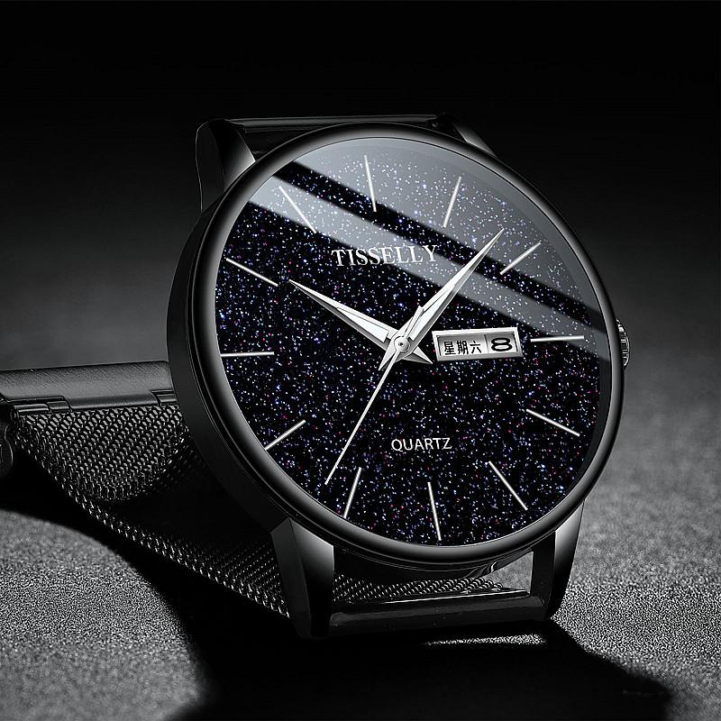 新款品牌手表黑科技男表双日历夜光防水星空钢带皮带学生男士腕表