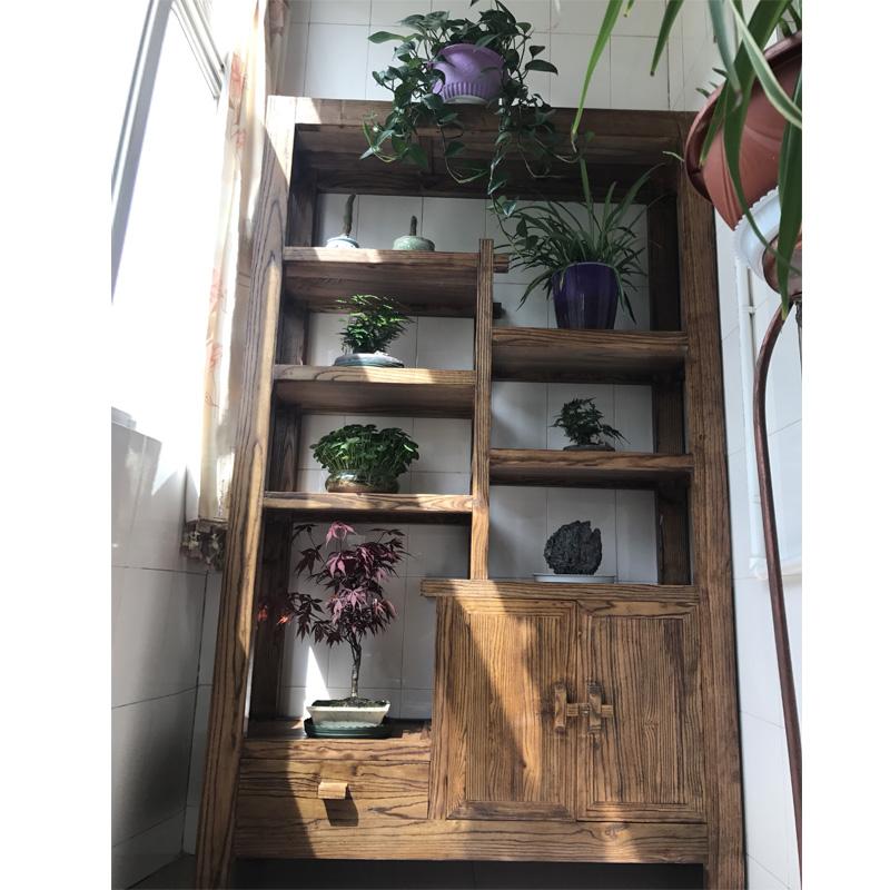 多宝阁博古架实木双面隔断玄关柜客厅中式屏风老榆木展示柜置物架