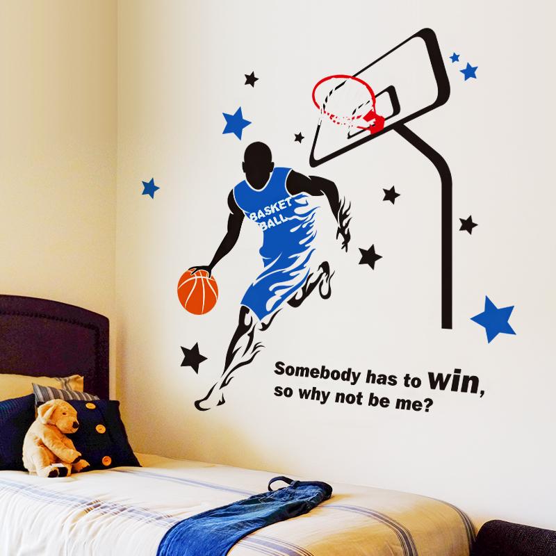 臥室床頭床邊裝飾男生寢室宿舍NBA運動海報紙牆貼畫貼紙桌布自粘