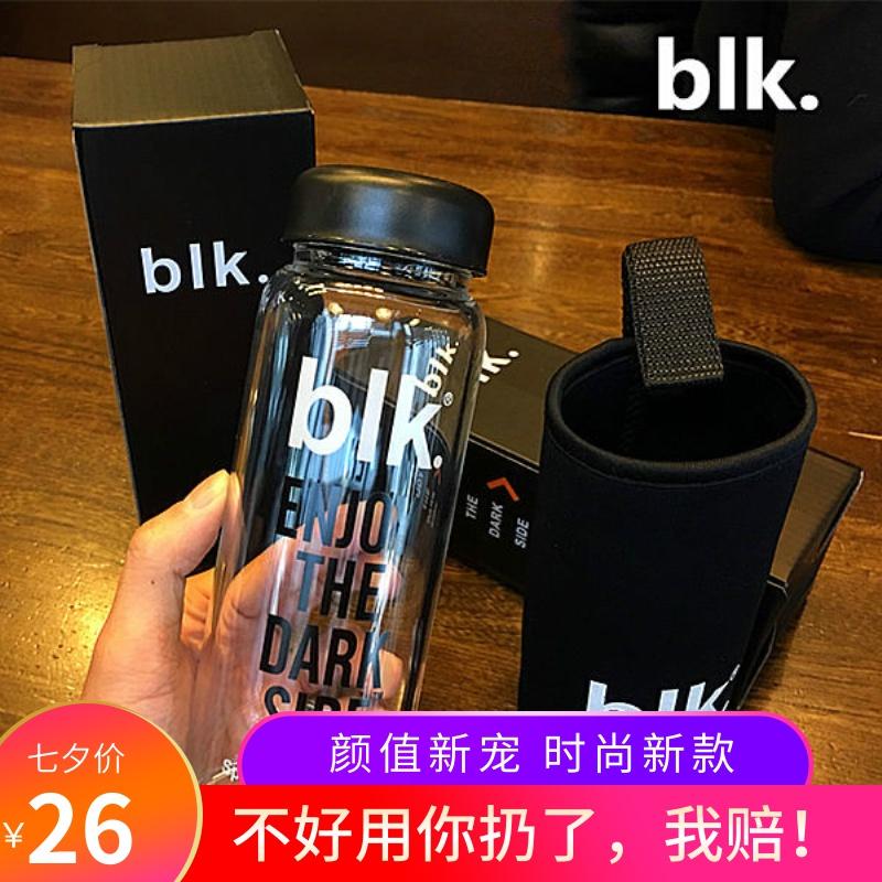 美國潮牌blk字母透明玻璃杯子 耐熱簡約男女時尚隨手茶杯創意水杯