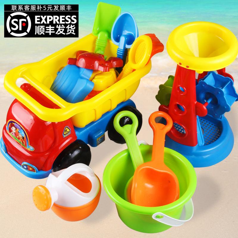 儿童沙滩玩具车套装水桶挖沙铲子玩沙海边宝宝小男女孩工具决明子