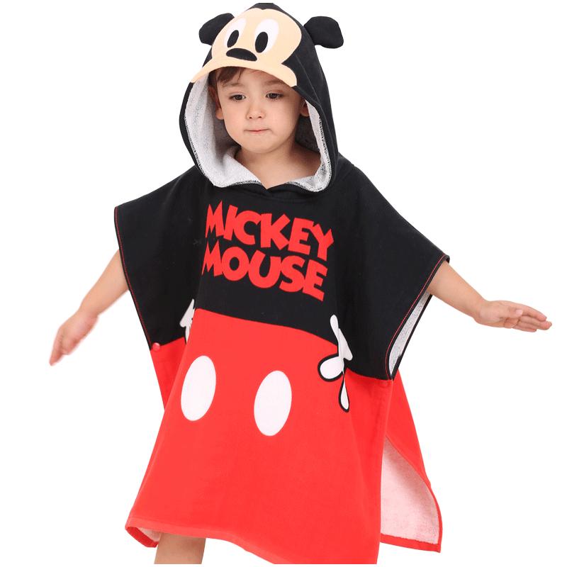 迪士尼儿童连带帽浴巾 抖音宝宝纯棉纱布斗篷沙滩巾披风浴袍 米奇