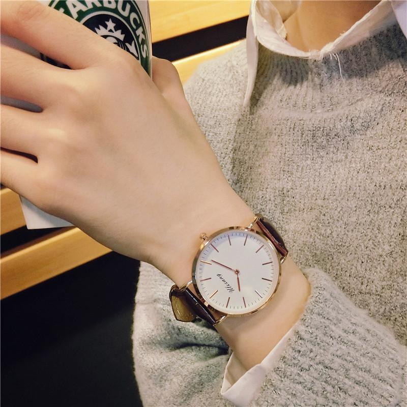 手表女学生韩版简约时尚创意个性男皮带圆形大表盘无秒针石英表潮