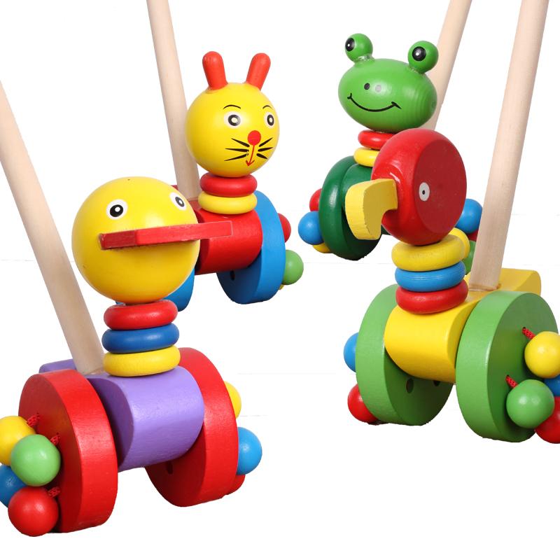 木质婴儿童推推乐学步车单杆手推车玩具拖拉玩具1周岁宝宝男女孩