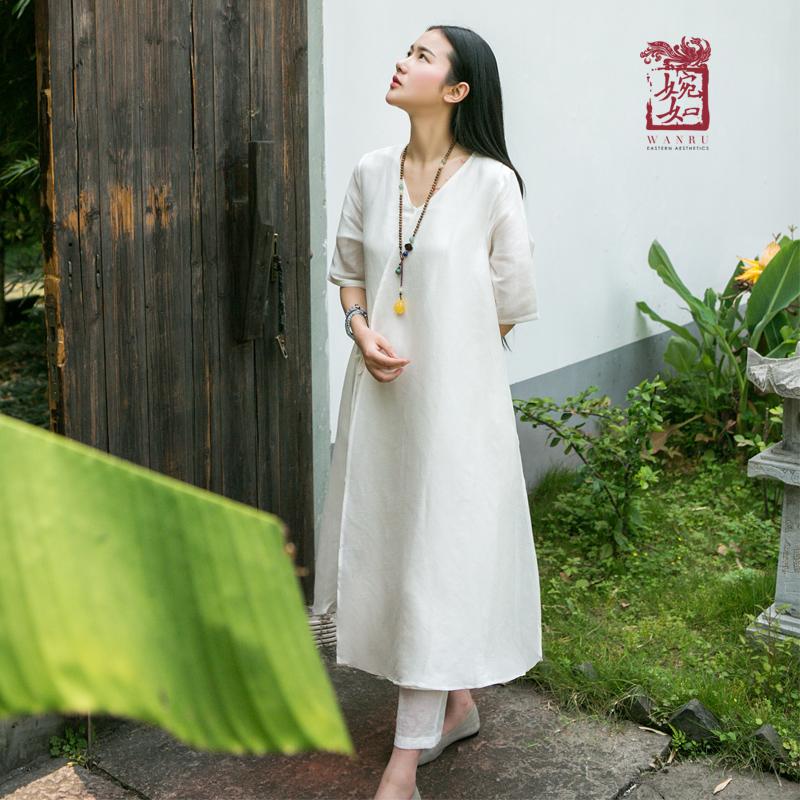2018复古棉麻连衣裙中长款夏装新款中国风禅服女装文艺禅意禅茶服