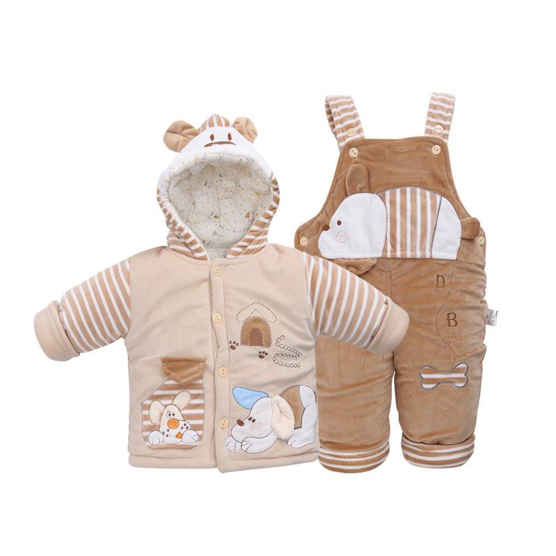 宝宝冬季棉衣套装两件套婴儿外出服新生儿背带裤棉袄加厚外套冬装